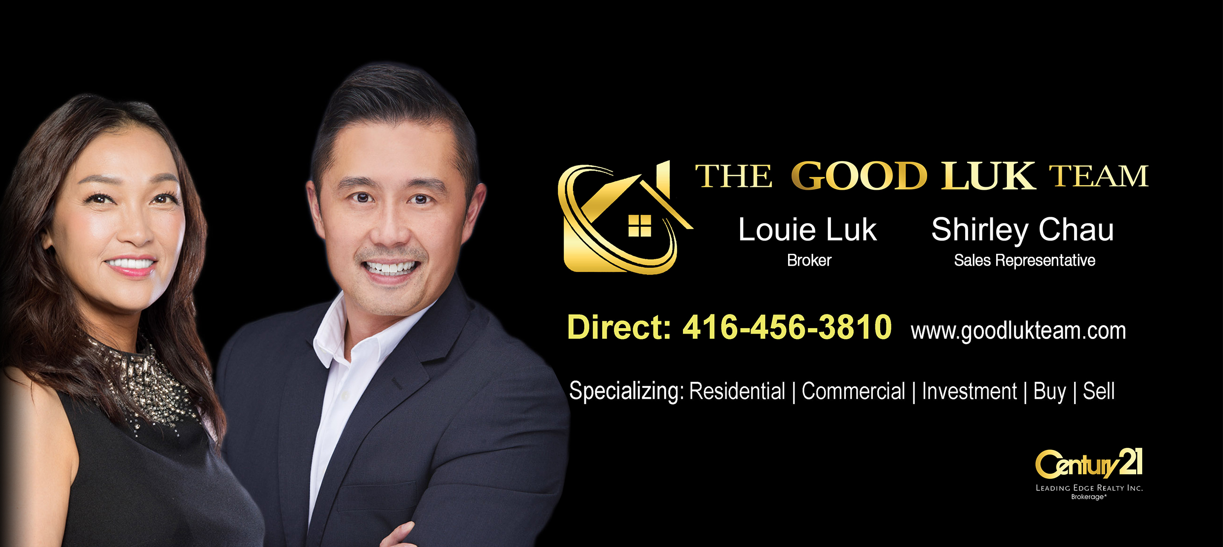 Real estate specialists Louie Luk and Shirley Chau from Good Luk Team